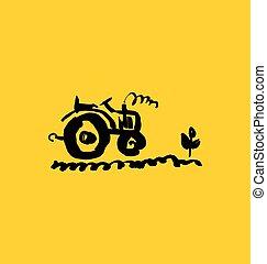 illustration., simple, main, vecteur, dessiné, icon., tracteur