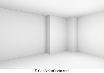 illustration., simple, résumé, blanc, salle vide
