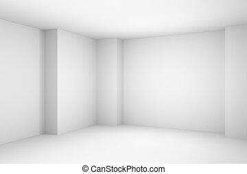 illustration., simple, résumé, blanche salle, vide