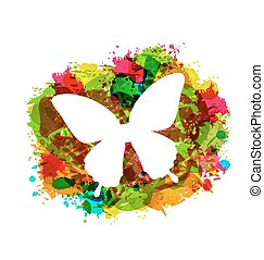 Simple White Butterfly on Colorful Grunge Damage Frame