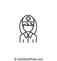 illustration., sinal, concept., símbolo, vetorial, enfermeira, ícone, linha, linear