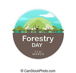 illustration., skogsbruk, vektor, logo, dag, design.