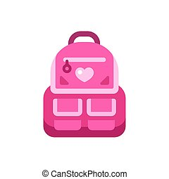 illustration, skola, rosa, icon., baksida, ryggsäck, lägenhet, unge