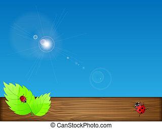 illustration., sky., עוזב, וקטור, רקע ירוק