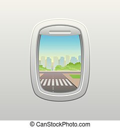 illustration., skyscrapers., plane., ventana, vector, plano ...