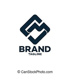 illustration., sm, logo.vector, ou, moderne, lettres, ms