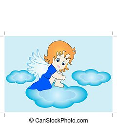 small angel sits on cloud in sky - illustration small angel...
