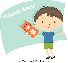 Illustration small boy with hand puppet toy. Vector