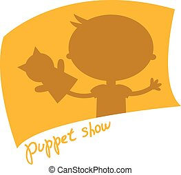 Illustration small kids with hand puppet toy. Vector