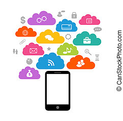Illustration smart device with cloud of application icons,...