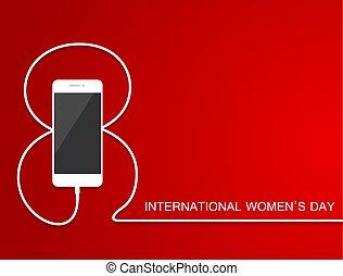 illustration., smartphone, mars, baner, flayer, skissera, brochure., meny, kvinnor, ringa, eps10., åtta, 8, laddning, internationell, fodra, helgdag, vektor, dag, wire., card.