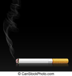 Illustration smoking cigarette on black background