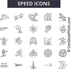 illustration:, snelheid, set, tekens & borden, schets, concept, grafisch, vector., dearrow, lijn, snelheidsmeter, snelheid, iconen, element
