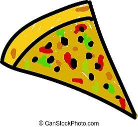 illustration, snitt, bakgrund., vektor, vit, pizza