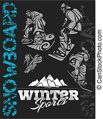 illustration., -, snowboard, sport., vector, acción, invierno