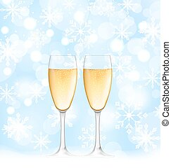 Snowflakes Elegance Background with Glasses of Champagne -...
