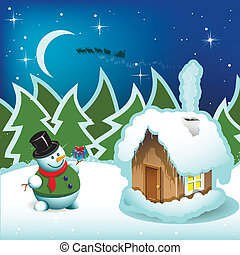 snowman - illustration, snowman and house with smoke on...