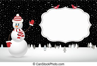 illustration, snowman., vecteur, nuit, noël, paysage