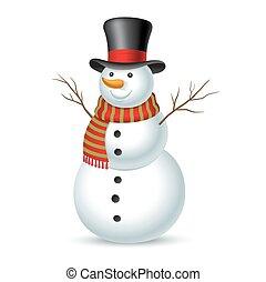 illustration, snowman., vektor, jul