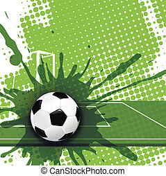soccer - illustration, soccer ball on abstract green...