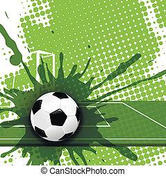 soccer - illustration, soccer ball on abstract green...