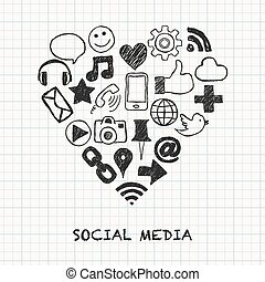 social media icons in heart shape