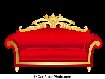 sofa red with pattern on black