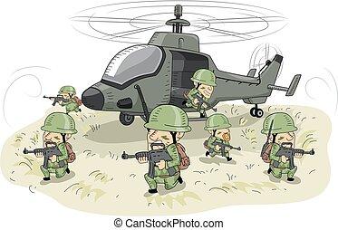 illustration, soldats, hommes, hélicoptère