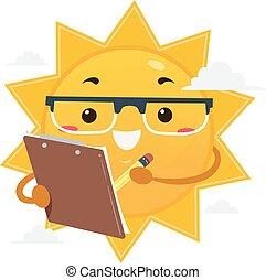 illustration, soleil, agrafe, scientifique, planche, mascotte