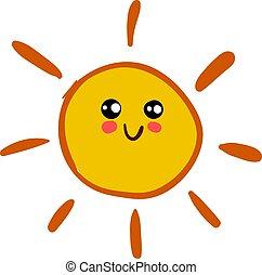 illustration, soleil, arrière-plan., vecteur, blanc, sourire, heureux