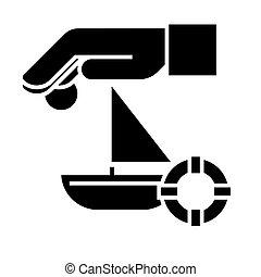 illustration, soleil, voyage, -, isolé, signe, lifebuoy, sable, vecteur, arrière-plan noir, icône, assurance, bateau
