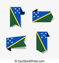 illustration., solomon, labels., bandiera, vettore, isole, ...