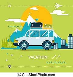 illustration, sommar, begrepp, livsstil, vektor, stad, bil, ...
