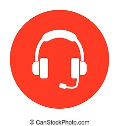 illustration., soutien, signe, blanc, circle., rouges, icône