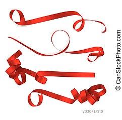 illustration., space., vecteur, ruban, fond, blanc, copie, brillant, rouges