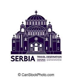 illustration., spielraum- bestimmungsort, serbien, vektor,...