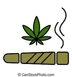 illustration., spliff, マリファナの薬剤, タバコ, ベクトル, 接合箇所, 喫煙