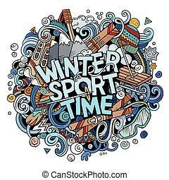 illustration., sport, doodles, temps, main, dessiné, dessin animé, hiver