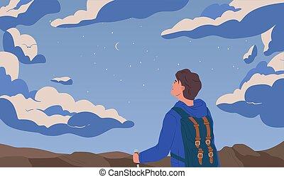 illustration., spotprent, starry, zelf, composition., vector, gelegenheid, waarneming, verbeelding, backpacker, metaphor., ontdekking, het reizen, man, plat, concept., hemel, nacht, het kijken, inspiratie