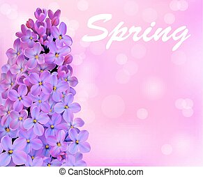 illustration spring background with beautiful blooming lilac
