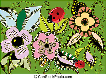 illustration - spring flowers with ladybugs