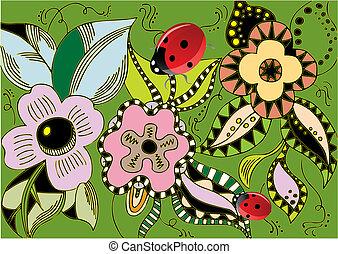 illustration - spring flowers with ladybugs