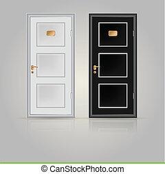 illustration, stängd, dörrar