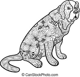 "St. Bernard dog - Illustration ""St. Bernard dog"" was created..."