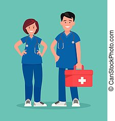 illustration., staff., 恋人, ベクトル, doctors., 救急車