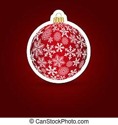 illustration., sticker, achtergrond., vector, kerstmis, ball.