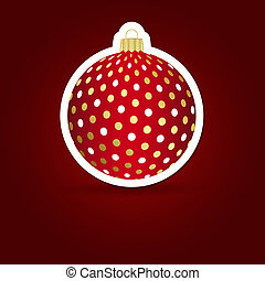 illustration., sticker, achtergrond., vector, kerstmis, ball.