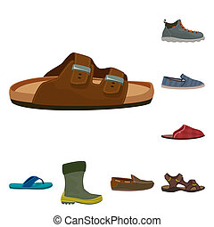 illustration, stock., chaussure, collection, bitmap, chaussures, pied, logo., icône