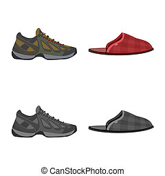illustration, stock., collection, bitmap, chaussures, pied, icon., chaussure, icône