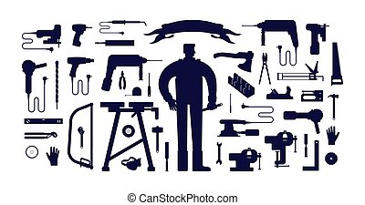 illustration, stockage, outillage, vecteur, atelier, ouvrier, kit